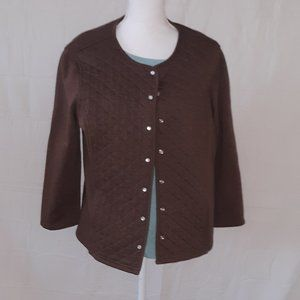 Laura Scott Brown Snap Up Sweater Size L